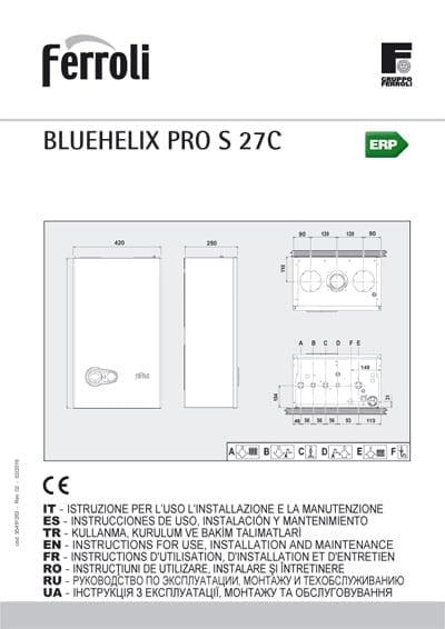 Manual uso Caldera Ferroli BlueHelix Slim Pro 27C