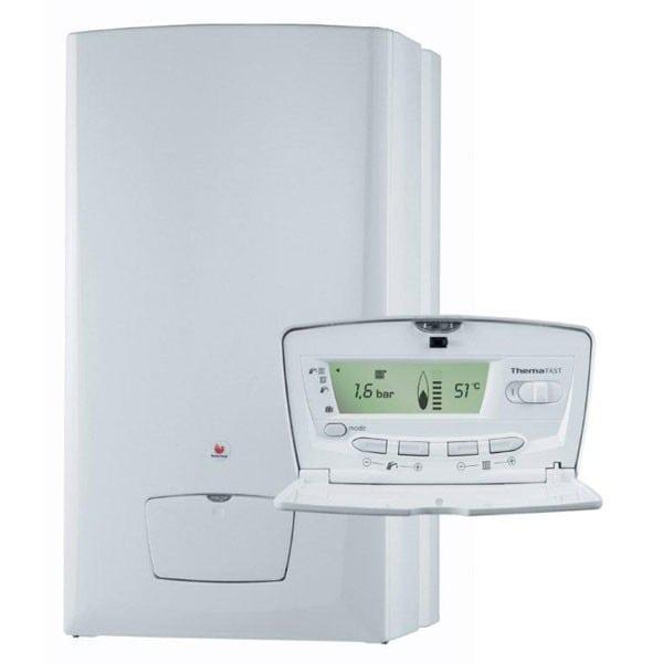 Caldera Saunier Duval con panel de control de presiones y temperatura marca Saunier Duval
